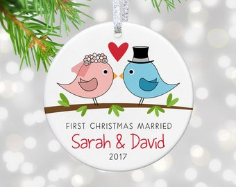 Our First Christmas Married Ornament, Bridal Shower Gift for Bride and Groom Gift, Our First Christmas as Mr and Mrs Ornament