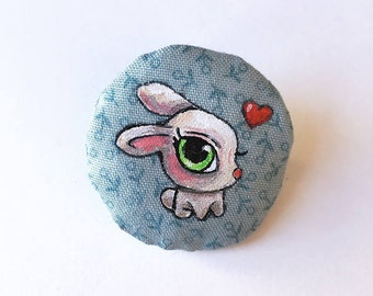Bunny BROOCH, illustration handpainted on fabric