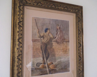 Rotta - Original Old Watercolor - Signed by The Artist