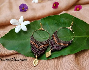macrame earrings, brown tribal earrings, macrame jewelry, handmade earrings, micro macrame, dangle earrings gypsy style boho earrings hippie