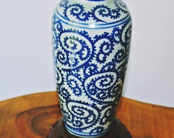 Celadon And Cobalt Vase, Porcelain Vase With Stand, Urn Shape Vase