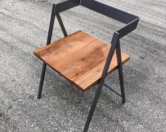 Handmade Walnut Seat Iron Frame dining chair/ office chair