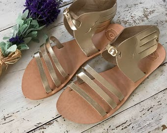 Gold Leather Sandals, Hermes Sandals,Women Wing Sandals, Greek Leather Sandals,Ancient Greek Sandals, Women's Gold Sandals
