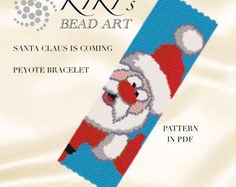 Peyote Pattern for bracelet - Santa Claus is coming peyote bracelet cuff pattern in PDF - instant download