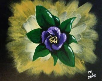 Purple Flower 8x10 original acrylic painting