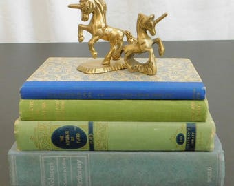 2 Vintage Solid Brass Unicorn Figurines, Mythical Animal, Fantasy, Paperweight, Desk, Library, Office, Home, Accessory, Child's Room Decor,