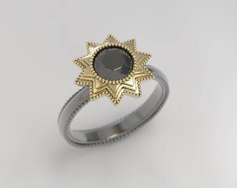 solar eclipse ring, vintage engagement, antique engagement ring, vintage ruby, gothic ring, geek engagement ring, art deco victorian