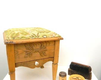1940s Shoe Shine Box With All The Goods...Wood Upholstered Cushioned Shoe Shine Seat...Shoe Shine Equipment...Foot Stool...Green Floral