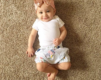 Indie Bloomers, baby girl bloomers, bummies, diaper cover, feathers, foxes, preemie - toddler, newborn