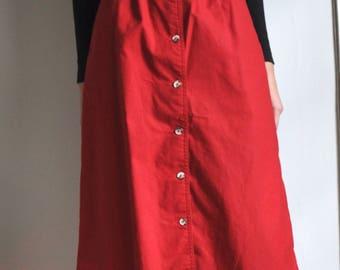 Vintage 80s Minimal Red Cotton Button Up Midi Knee Length Skirt, Size 27 28 Waist