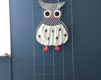 Pajamas/toys bag OWL orange or gray