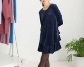 Navy organic cotton velour dress with ruffles / Winter dress / Long sleeves dress / Velvet dress / Cotton dress, gifts for her