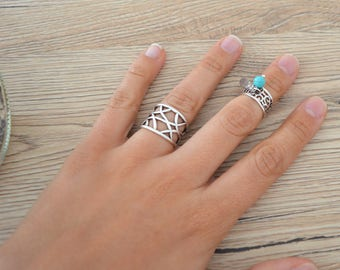 Bohemian Silver Statement Geometric Design Knuckle Ring, Silver Midi Pinky Ring, Silver Stackable Adjustable Ring, Affordable Gift for Her