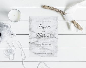 PRINTABLE A5 Wedding Invitation Suite - Marble - Modern - Minimalist - Calligraphy - Simple - Download PDF Only