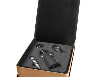 Custom Engraved Leatherette 3-Piece Wine Tool Gift Set, Light Brown