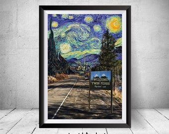 Twin Peaks Poster, Twin Peaks, Welcome To Twin Peaks, Twin Peaks Print, Twin Peaks Art Starry Night, Twin Peaks Wall Art, Twin Peaks TV Show