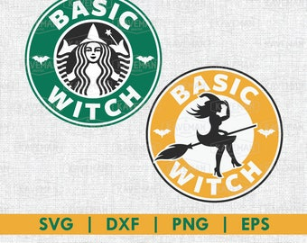 Basic Witch Starbucks Coffee SVG DXF Silhouette Cameo Cricut Cut File