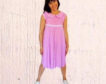 Womens babydoll dress pink high waisted summer sleeveless dress tent full skirt fuchsia dress peter pen collar vintage 1960s Medium size 8