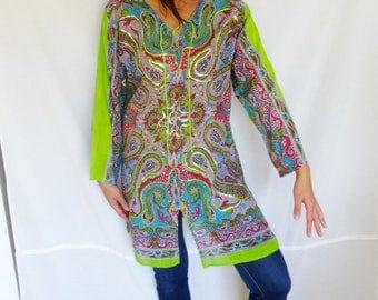 Long sleeved kaftan dress green Indian kaftan caftan cotton short kaftan sequinned ethnic kaftan tunic vintage size 8-10 Medium