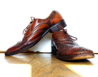 Oxford shoes wingtip size 7 1/2 saddle shoes brogue brown leather jazz shoes vintage made in Portugal size 40