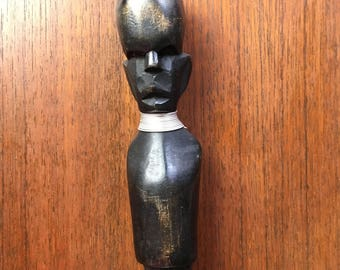 African ceremonial spearhead with carved figure
