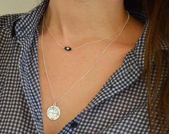 Silver Necklaces, Silver Evil Eye Necklace, Silver Disc Necklace, Evil Eye Jewelry, Christian Disc Necklace, Christian Necklace.