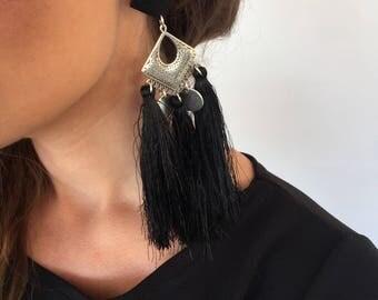 Tassels Earrings, Black Silk Tassels Earrings, Boho Earrings, Black Earrings, Clip On Earrings, Gift for Her, Made in Greece.