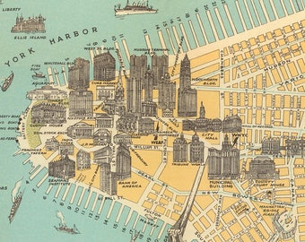 New York Map Printable Antique Map Instant Download Pictorical Map Of New York City
