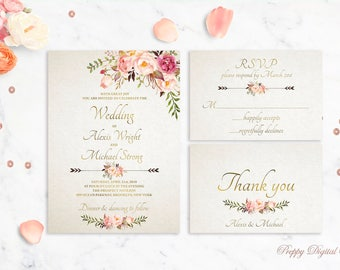 Boho Wedding Invitation Printable Wedding Invitation Bohemian Wedding Invite Blush Wedding Invitation Floral Wedding Invitation Template
