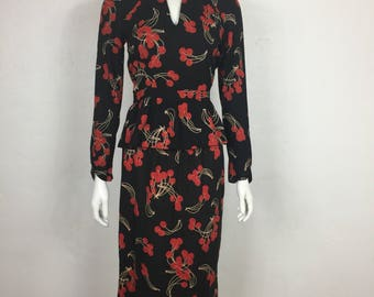 Vtg 70s 80s does 40s 2 piece cherry print peplum pin up wiggle dress outfit XS Small novelty print