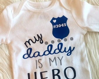 My daddy is my hero police baby girl boy toddler personalized bodysuit tshirt