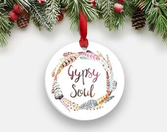 GYPSY SOUL Holiday Ornament - Round Aluminum Circle Christmas Tree Ornament, Feather Wreath Hippie Boho Wanderlust Gifts Stocking Stuffer