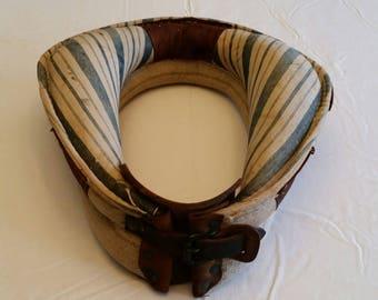"antique mid century small horse yoke / collar handmade 13"" x 12"" - cloth w/ leather wall hanging barn rodeo rustic art vintage animal"