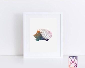 Hedgehog watercolor, hedgehog art nursery, hedgehog nursery decor, Hedgehog wall decor, boys bedroom decor, hedgehog wall art, hedgehog art