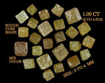 Natural Loose Diamond Uncut Rough Cube Shape Mix Color 1.00 ct Lot N486