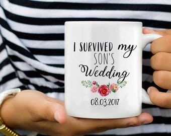 Gifts for Parents Wedding Thank You, Parents Wedding Gift, I Survived my Sons Wedding, Father of the Groom, Mother of the Groom