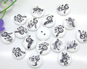 10 wooden buttons printed with musical notes