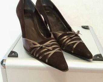 """Vintage Stuart Weitzman Black Suede Stiletto Heels, Size 8 1/2"""" (1990s)"""