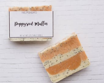 SALE Orange Poppyseed Soap - Bar Soap, Handmade Soap, Vegan Soap, Exfoliating Soap, All Natural Soap, Cold Process Soap