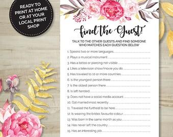 Pink Floral Find the Guest Game, Hens Party, Bridal Shower, Bachelorette, Printable Games, Digital Download, Wedding Shower