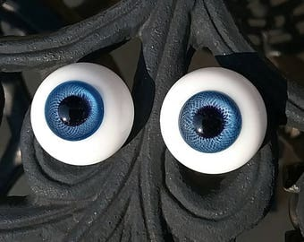 24mm paperweight blue glass doll EYES solid glass for antique reproduction porcelain dolls