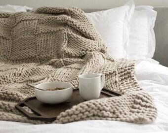 Knit Throw Blanket - 100% Wool