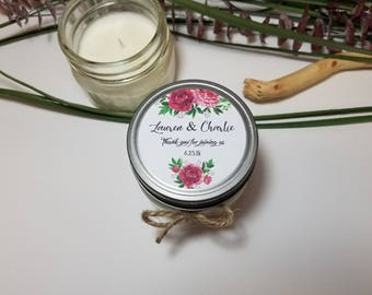 12 - 4 oz Wedding Candle Favors - Thank you Gift for Guests - Personalized Favors - Rose Favors - Bridal Shower Favors - Rustic Favors