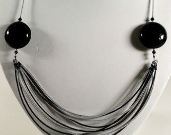 Black and Silver Murano glass Necklace