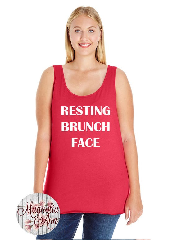 Resting Brunch Face, RBF, Women's Premium Jersey Tank Top in Sizes Small-4X, Plus Sizes, Curvy, Lots of Colors