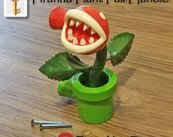 Piranha Plant Pull Handle Super Mario Bros Nintendo Home Decor Cabinet Knobs Drawer Pulls Geek Gamer Home Decor