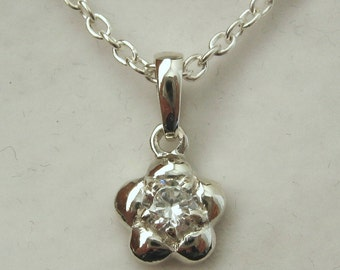 Genuine SOLID 925 Sterling Silver April Birthstone Daisy Cubic Zirconia Pendant