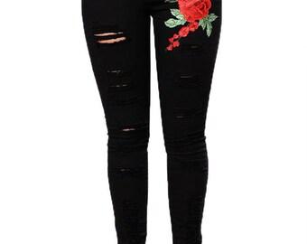 Rose Embroidered  Black Skinny Jeans