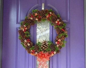 Pine cone wreath, Holiday wreath, Winter wreath, Pine cones and acorns wreath