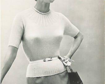 Vintage Women's Ribbed Yoke Sweater Knitting Pattern PDF 1954